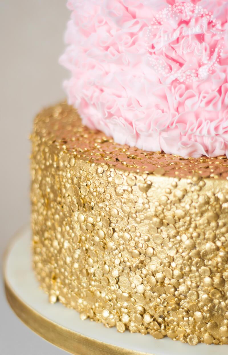 Pretty pink ruffle wedding cake by Juniper Cakery