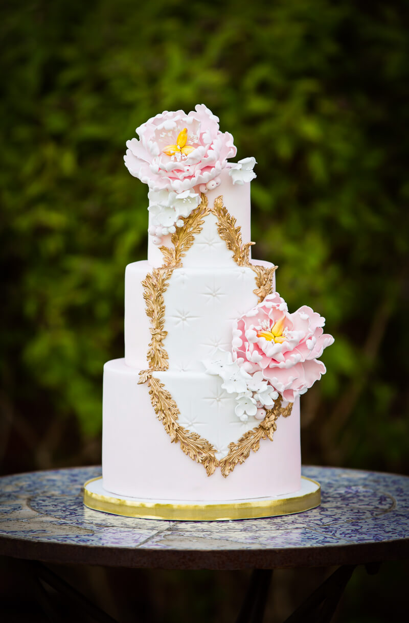 Pink Rococo styled wedding cake by Juniper Cakery
