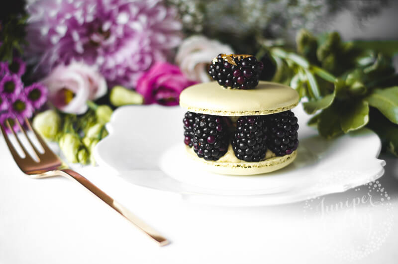 Blackberry and pistachio macaron by Juniper Cakery