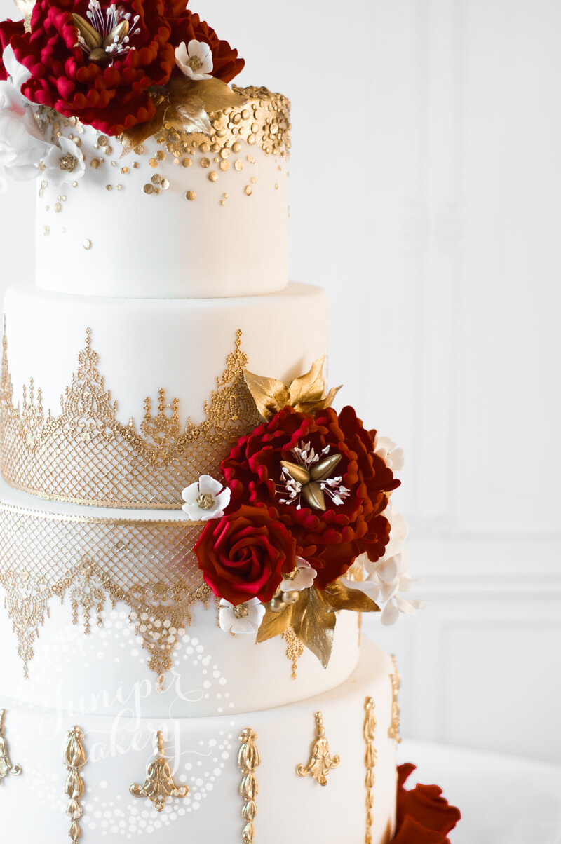 Gold Lace Peony and Wisteria Wedding Cake by Juniper Cakery ...