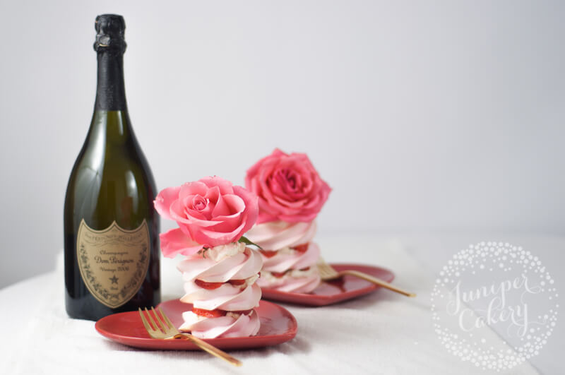 Valentine's Day strawberry pavlova recipe by Juniper Cakery