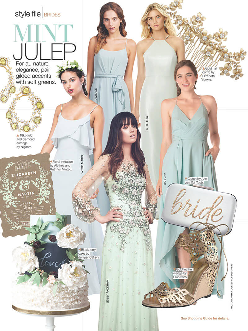 Juniper Cakery featured in Bridal Guide magazine January 2017