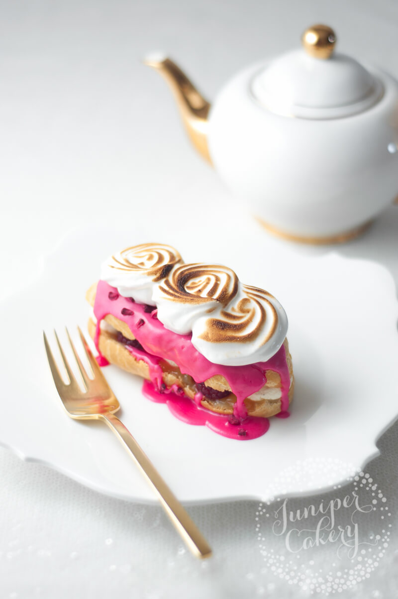 Raspberry and Lemon Meringue Eclairs recipe by Juniper Cakery