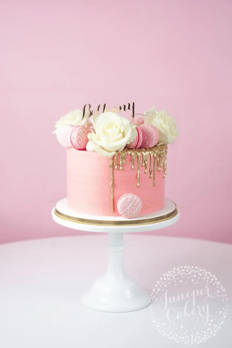Pretty In Pink Gold Sequin Drip Cake