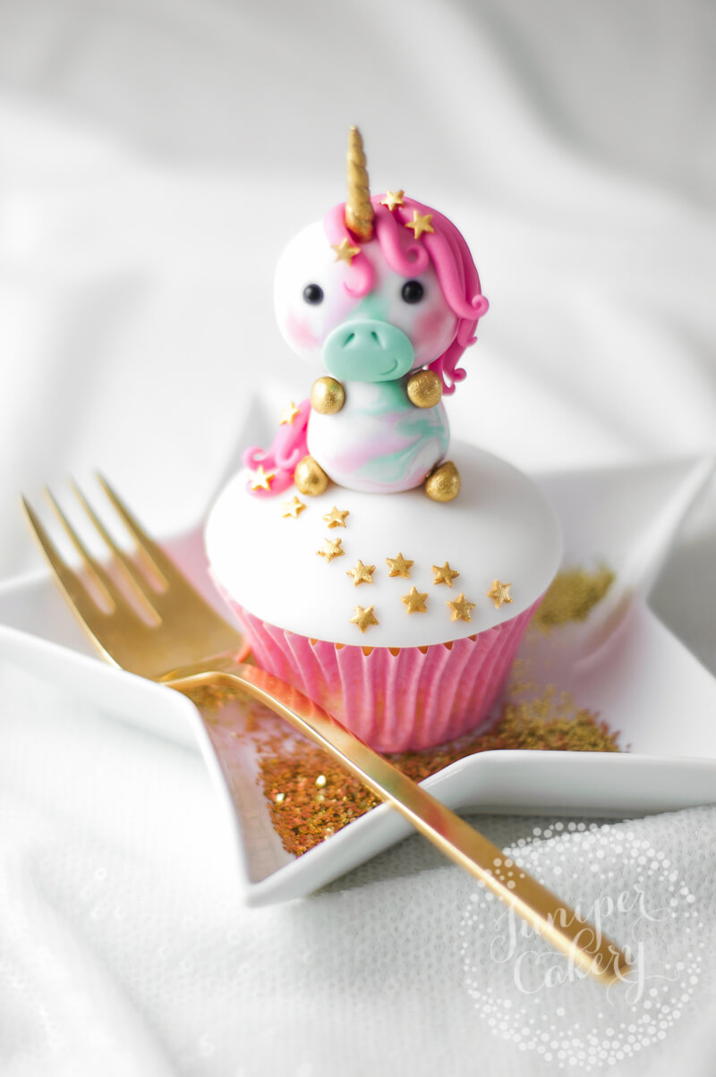 How to make a cute pastel fondant unicorn cupcake topper by Juniper Cakery