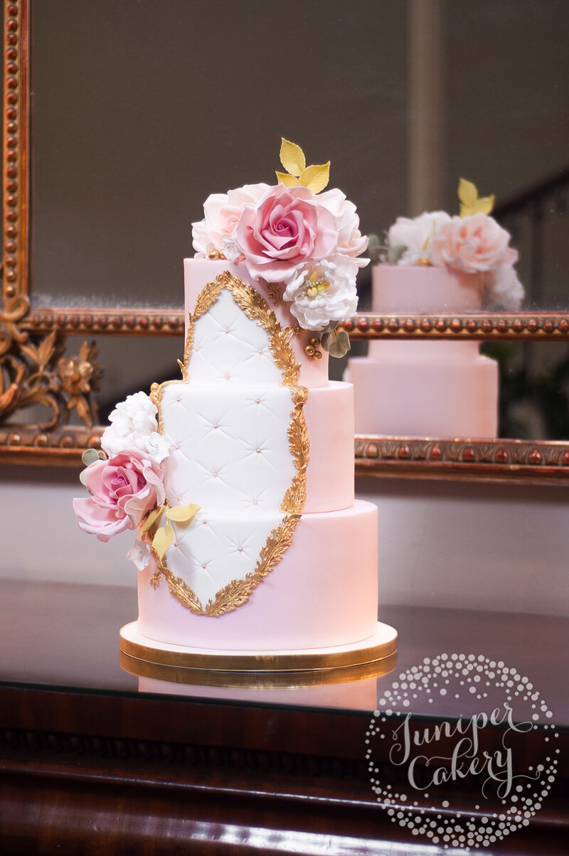 Rococo wedding cake with sugar roses and peonies by Juniper Cakery