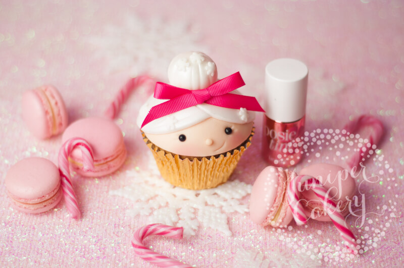 Mrs Claus cupcake for Benefit Cosmetics by Juniper Cakery