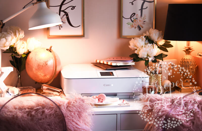 Pink and gold office area of Juniper Cakery