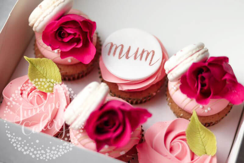 Pink rose Mother's Day cupcakes in Yorkshire by Juniper Cakery