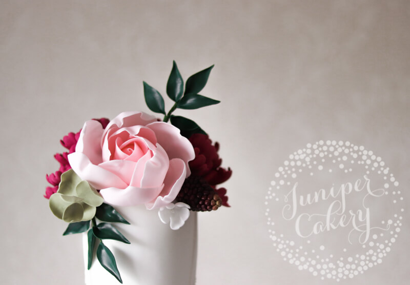 Rose wedding cake at Rise Hall by Juniper Cakery