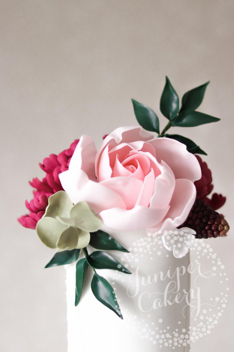 Modern sugar rose wedding cake by Juniper Cakery