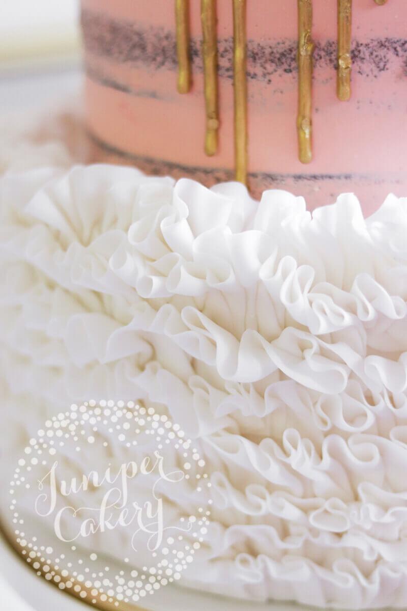 Blush semi-naked cake by Juniper Cakery