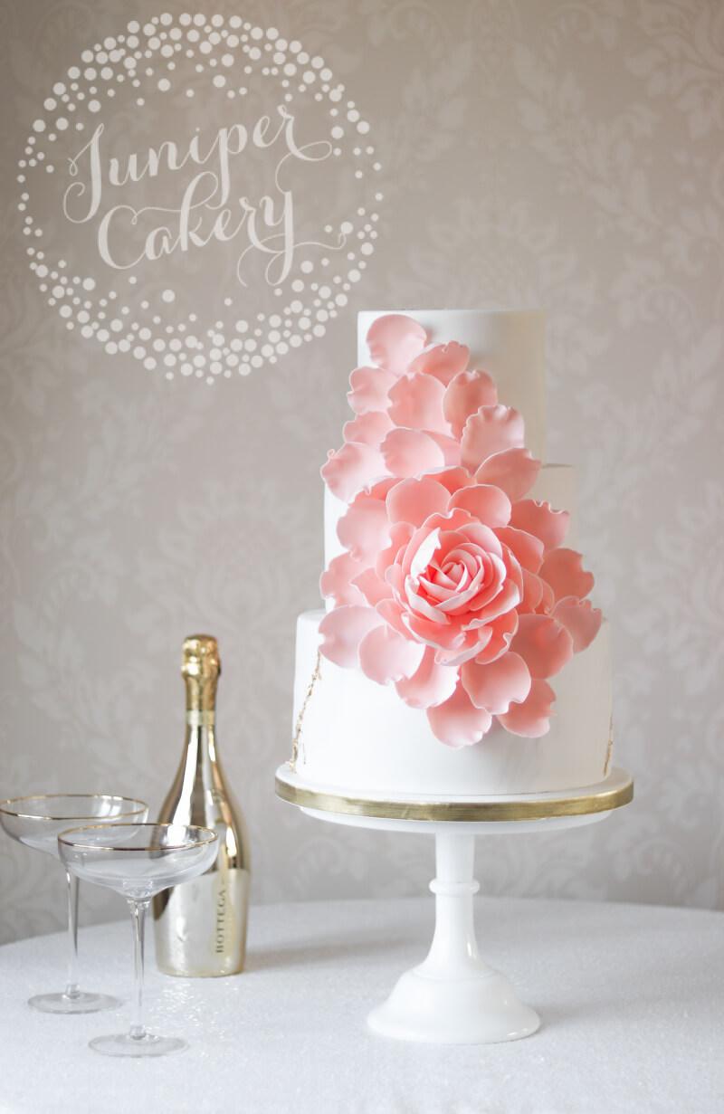 Light Peach Exploding Rose Wedding Cake by Juniper Cakery