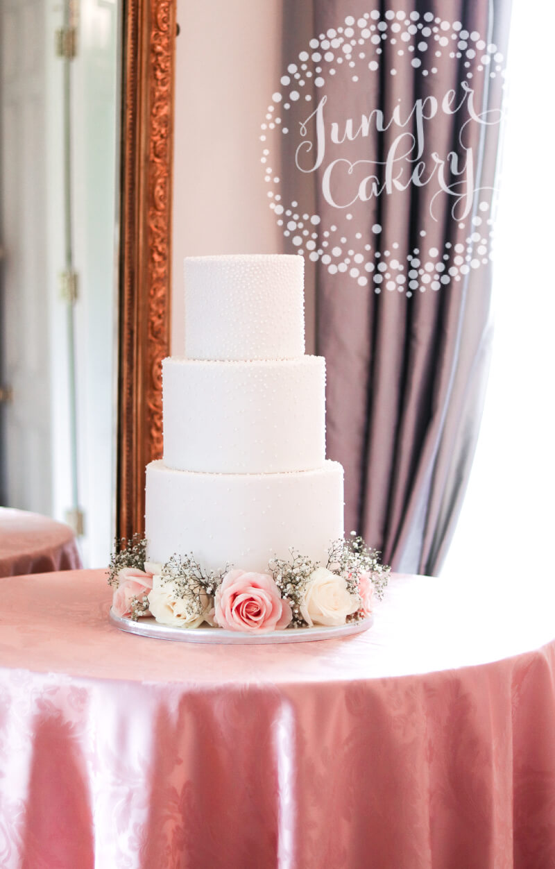 Pearl Wedding Cake with Fresh Flowers by Juniper Cakery