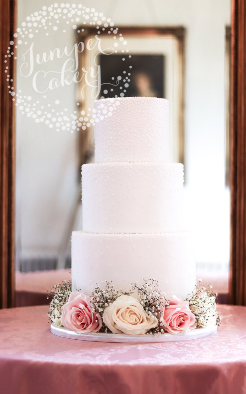 Lovely Pretty Pearl Wedding Cake with Fresh Blooms by Juniper Cakery