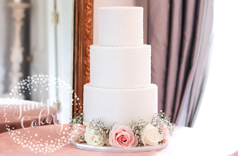 Piped Pretty Pearl Wedding Cake with Fresh Blooms by Juniper Cakery