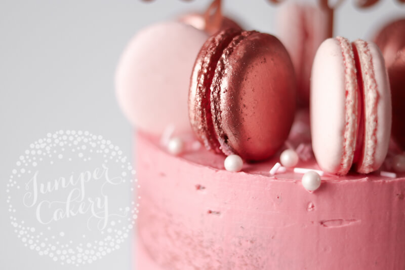 Rose Gold Prosecco macarons and Blush Raspberry Chambord macarons by Juniper Cakery