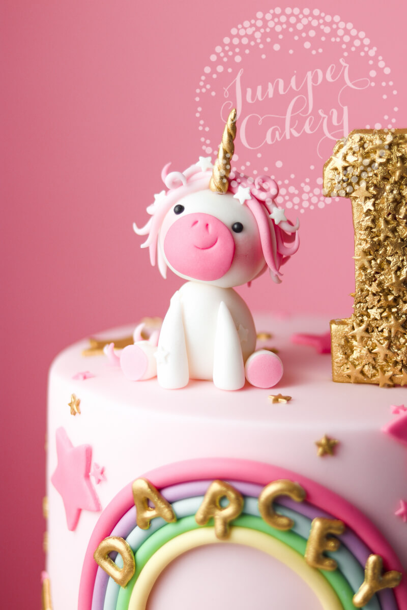 Lovely little pink unicorn birthday cake by Juniper Cakery
