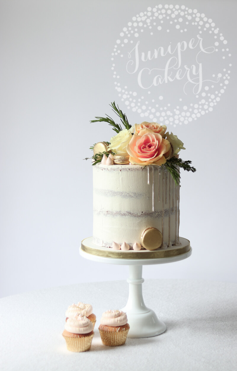 Beautiful white on white semi-naked cake by Juniper Cakery