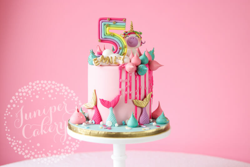 Fun mermaid unicorn cake by Juniper Cakery