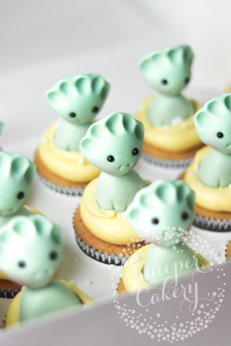 Stylised dinosaur cupcakes by Juniper Cakery