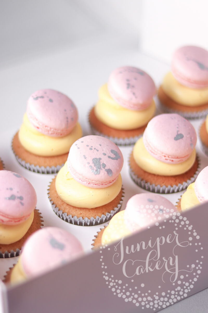 Blush and silver macaron topped cupcakes by Juniper Cakery