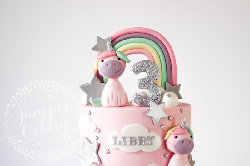 Adorable pink pastel unicorn birthday cake by Juniper Cakery