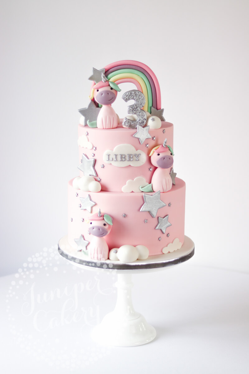 Silver and pastel rainbow unicorn cake by Juniper Cakery