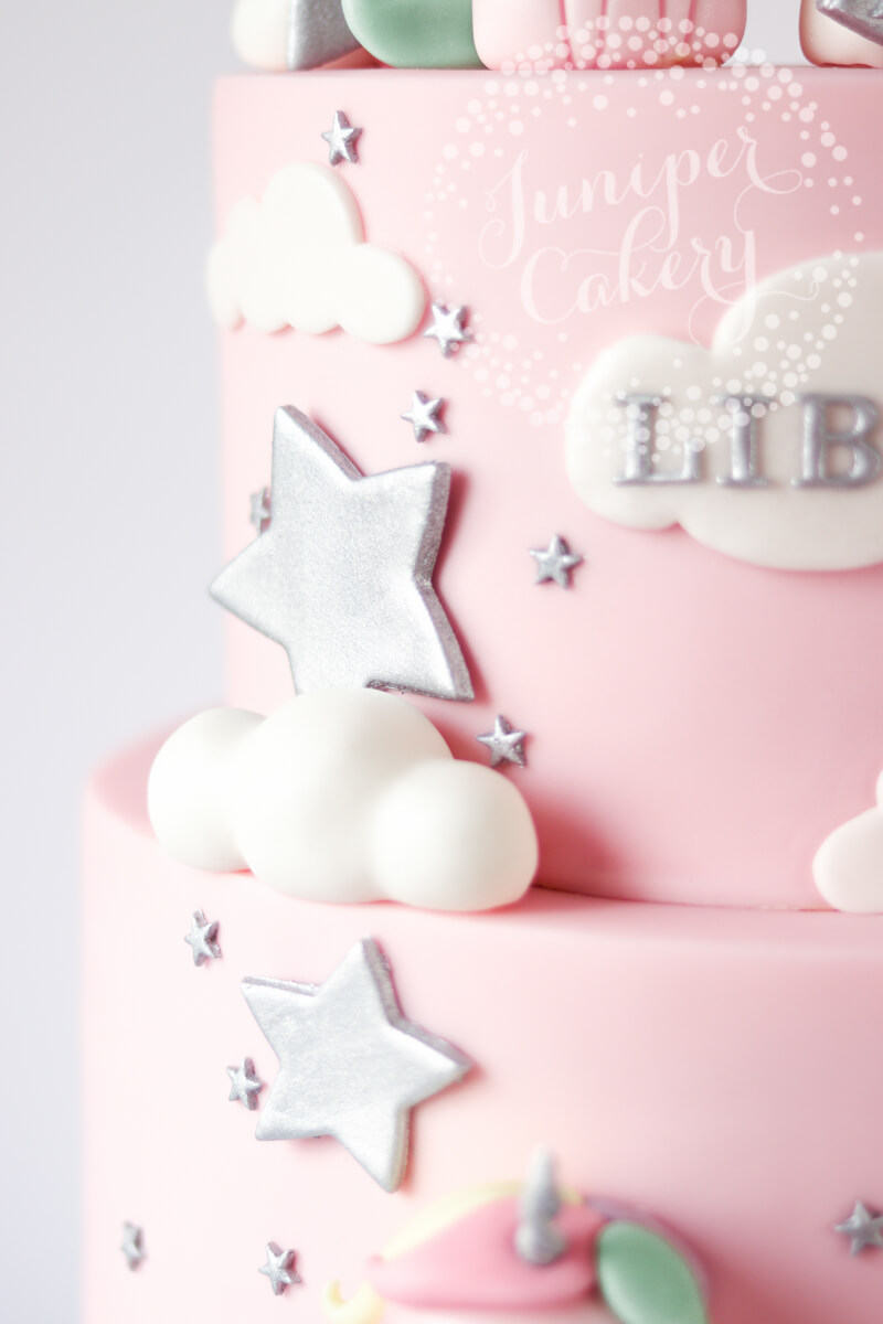 Silver star-studded unicorn cake by Juniper Cakery
