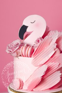 Blush Pink Flamingo Cake with Macarons and Roses!