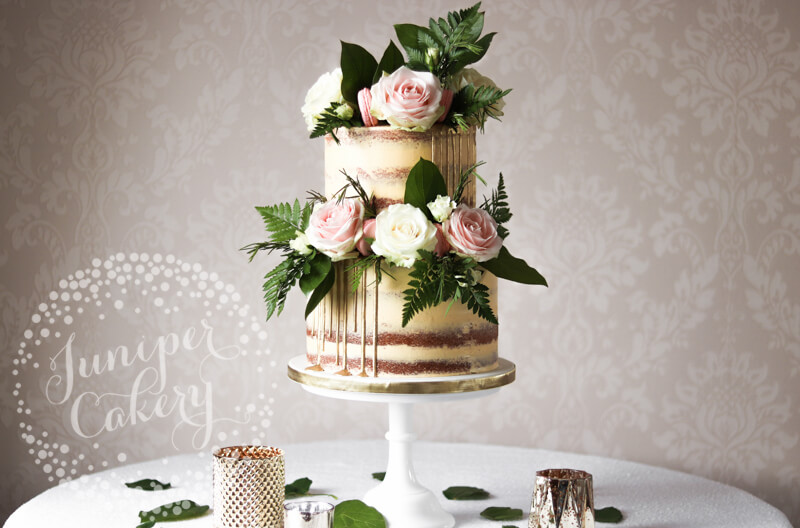 Gold sequin semi-naked wedding cake by Juniper Cakery