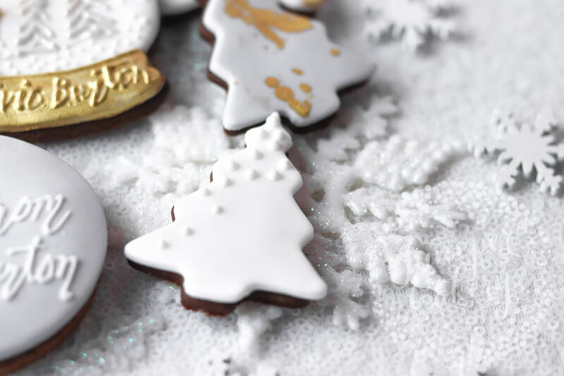 Winter and snow globe themed cookies for Olivia Burton by Juniper Cakery