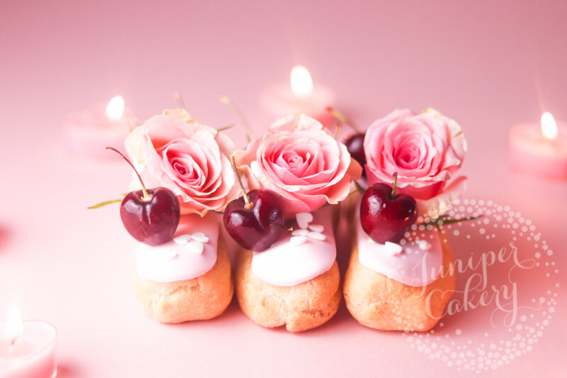 Cherry and rose bellini eclair recipe via Juniper Cakery