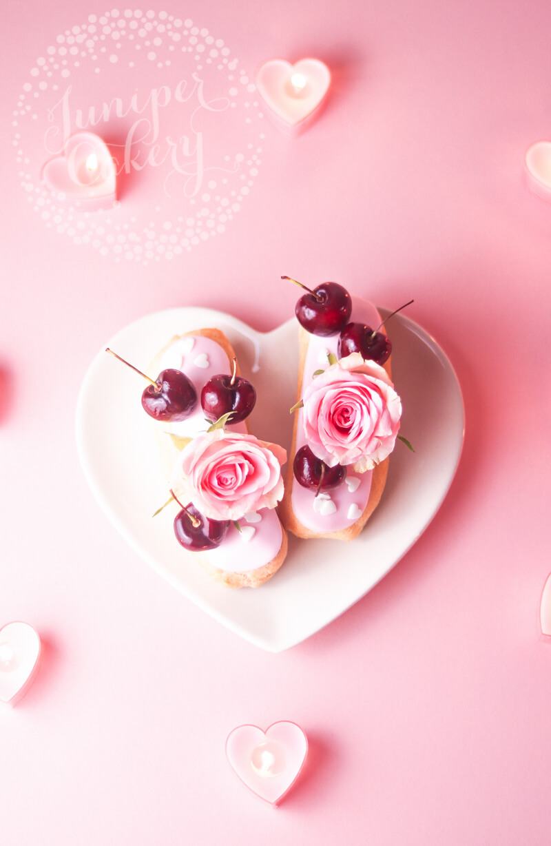 Pink cherry and rose eclair recipe by Juniper Cakery