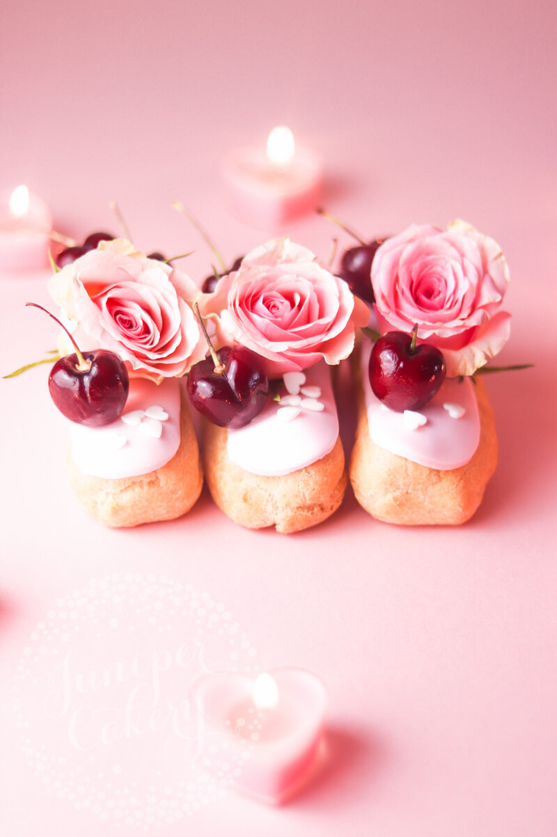 Valentine's Day eclairs by Juniper Cakery