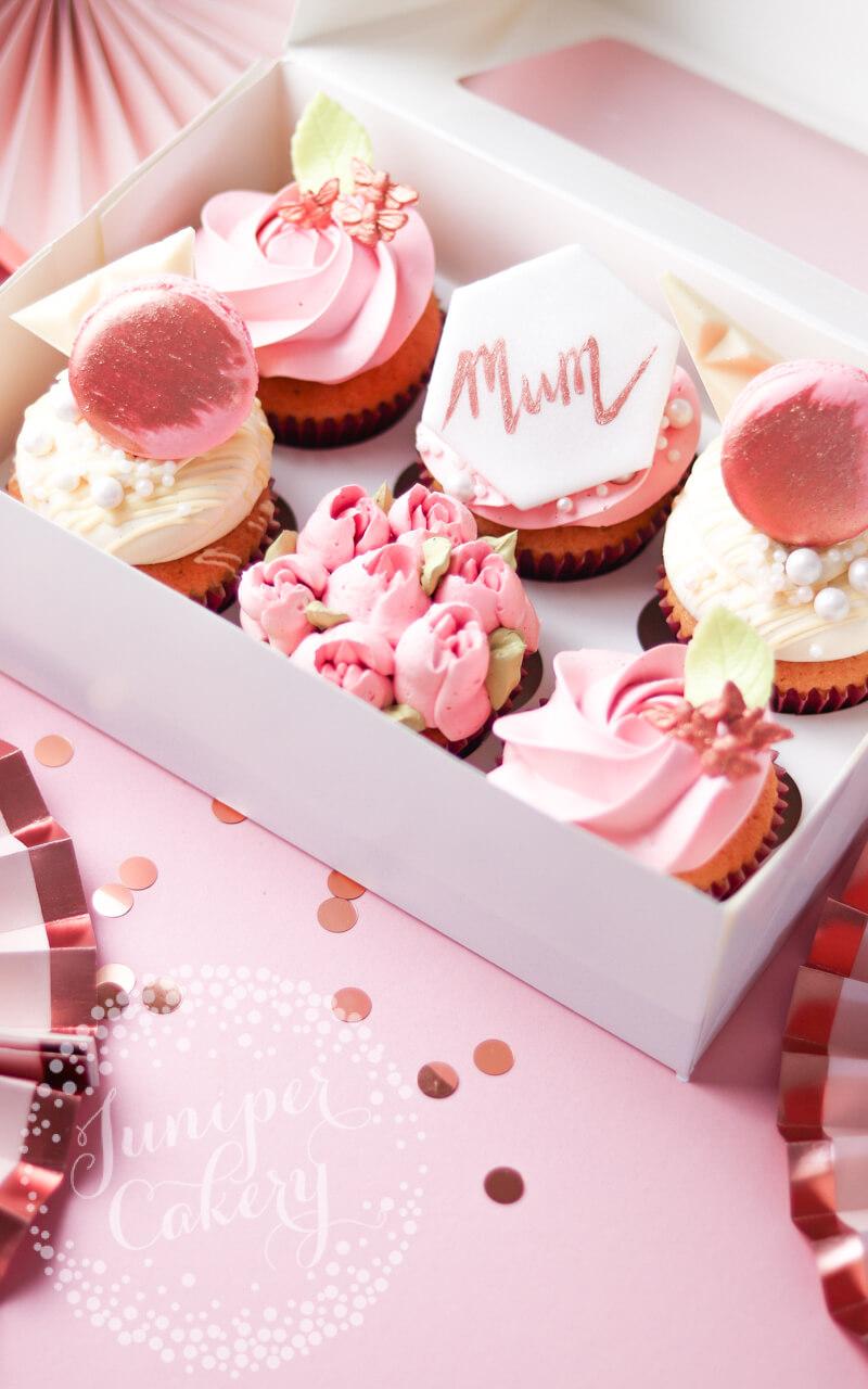 Blush and rose gold cupcakes via Juniper Cakery