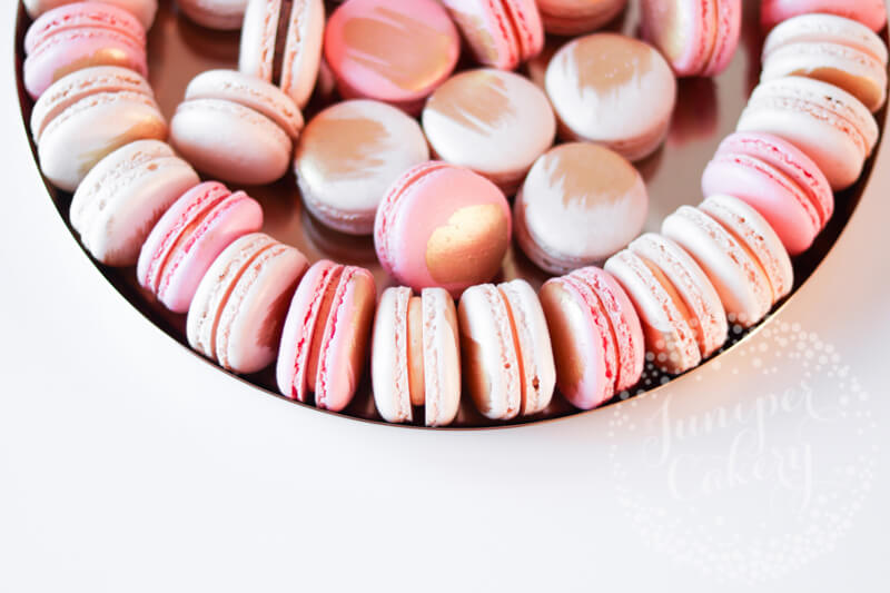 Pretty pink macarons at Saltmarshe Hall by Juniper Cakery