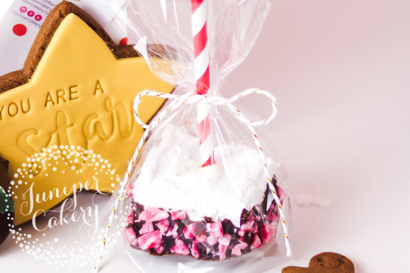 Candy cane dipped marshmallow by Juniper Cakery