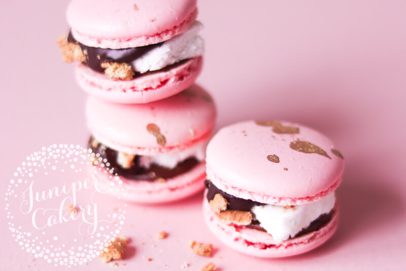 Festive S'mores macarons by Juniper Cakery
