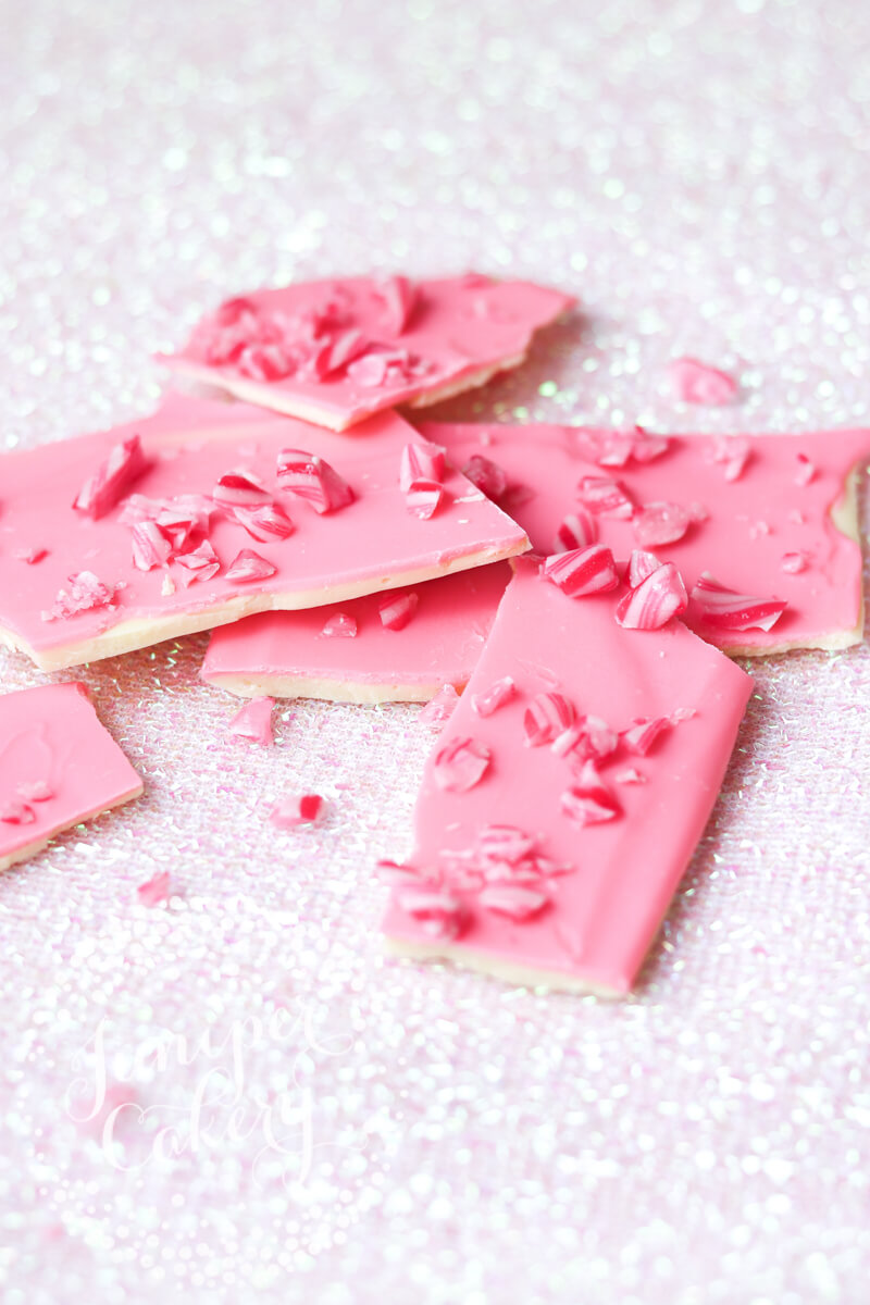 The cutest candy cane bark recipe via Juniper Cakery