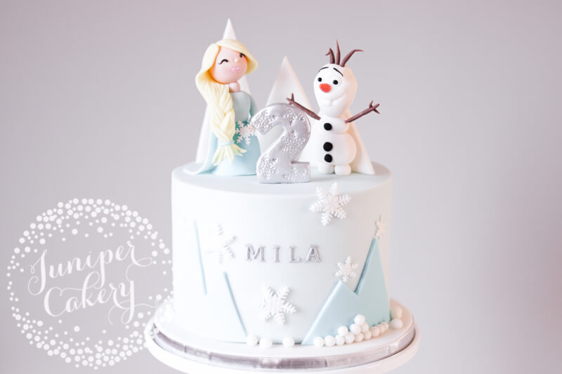 Fun Frozen birthday cake by Juniper Cakery