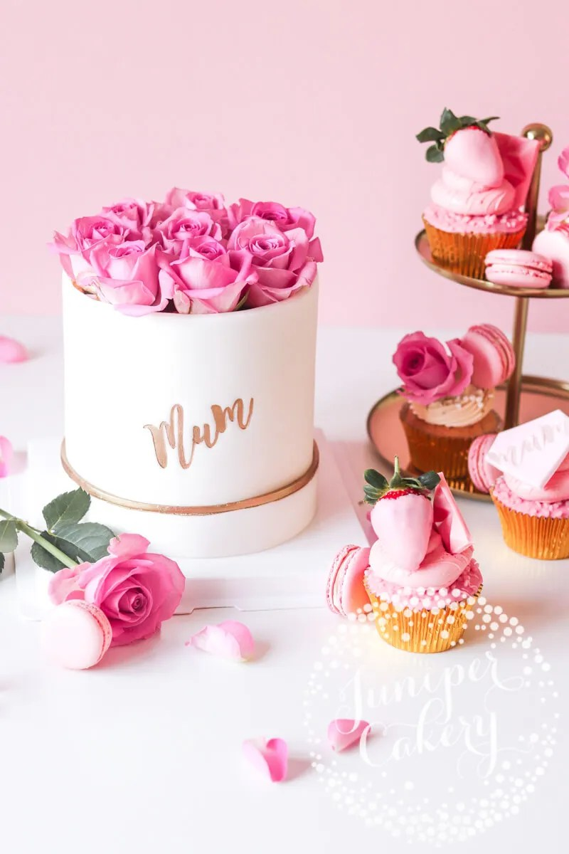 Rose filled hat box cake for Mother's Day by Juniper Cakery