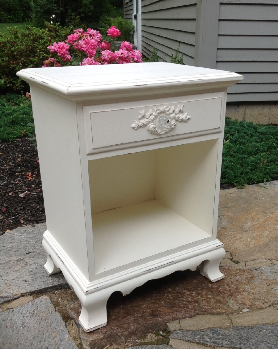 Shabby chippy vintage nightstand painted white