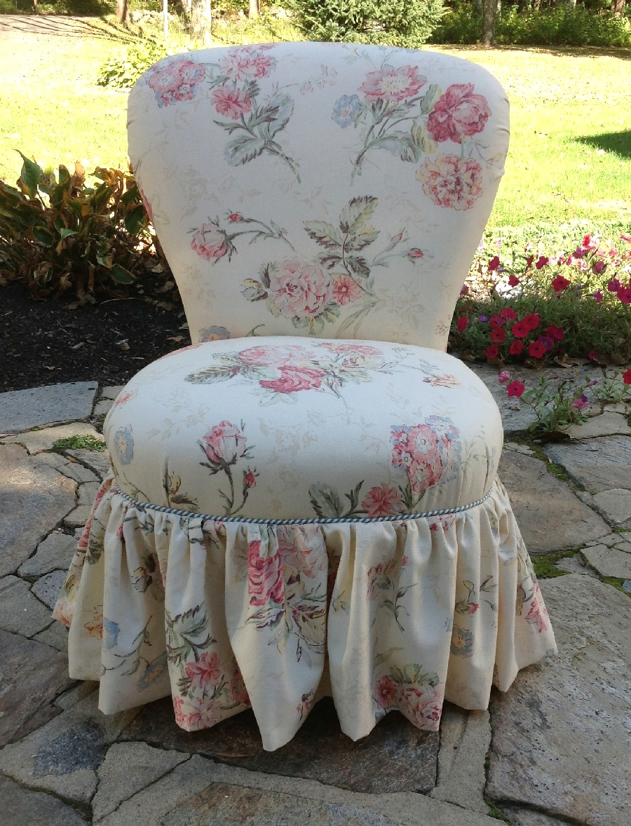 Vintage slipper chair newly upholstered in rose fabric