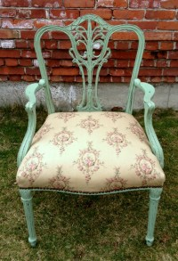 Side chair in Ralph Lauren fabric painted in chalk paint