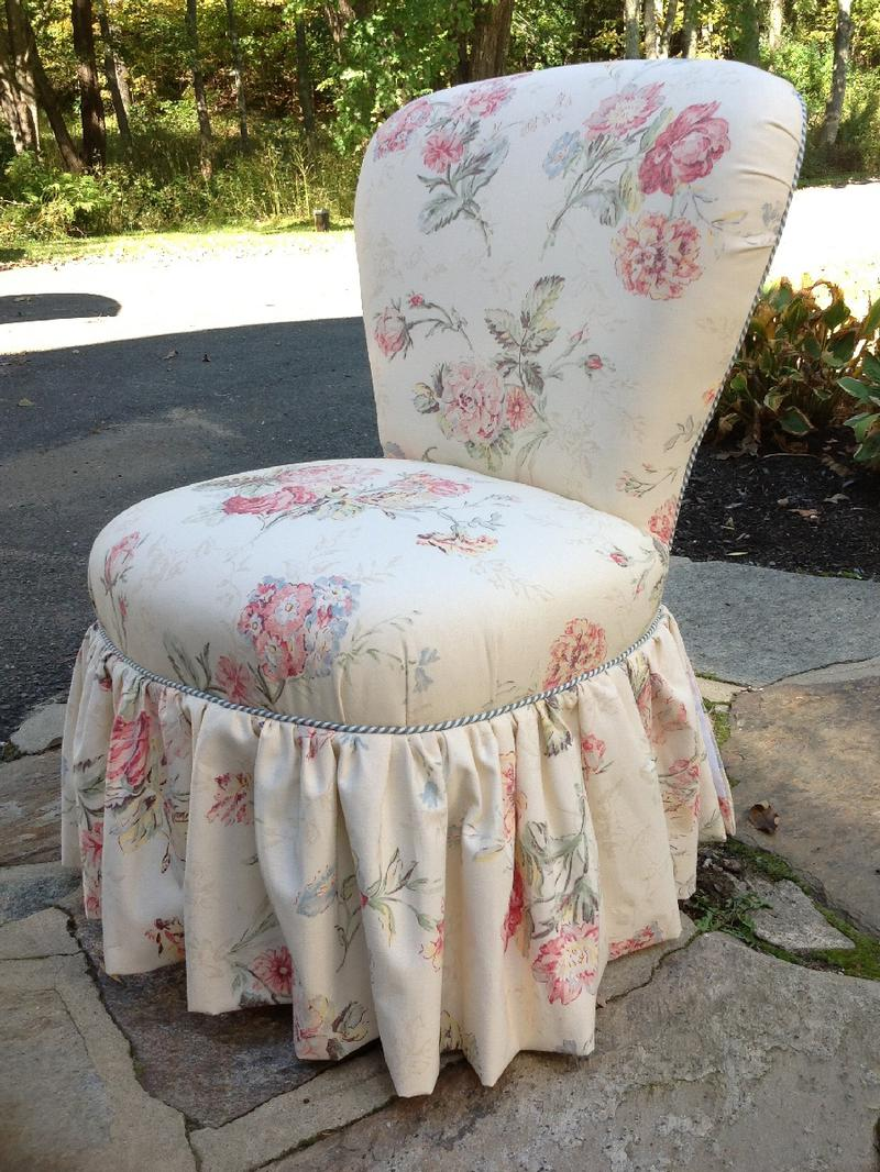upholstered slipper chair white all purpose salon vintage newly in rose fabric