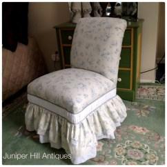 Upholstered Slipper Chair Shower With Swivel Seat Vintage Shabby Chic In Blue Rose Ralph Lauren Linen Fabric