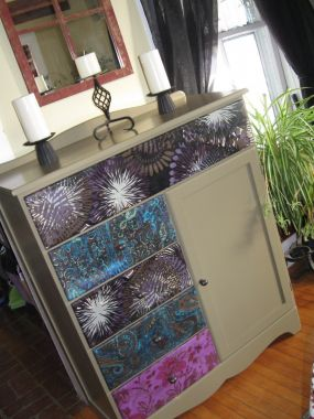Fabric Over Painted Dresser Junkmarket Style
