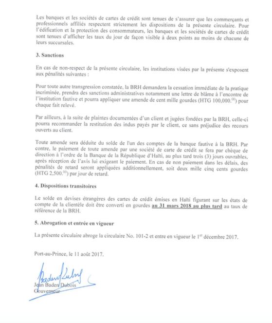 Banque de la République d'Haïti, Circulaire No 101-3 | Aux Banques et aux Sociétés de Cartes de Crédit 31