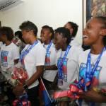 Jovenel Moïse accueille chaleureusement les Grenadières 42